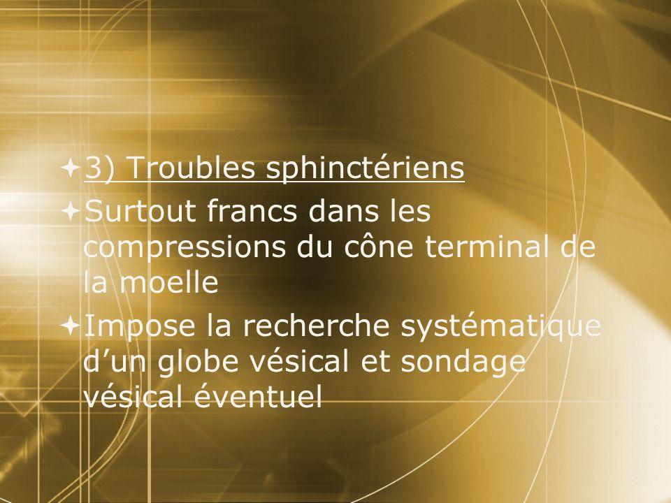 3) Troubles sphinctériens