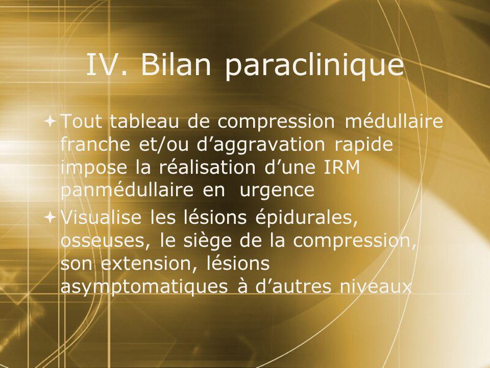 IV. Bilan paraclinique