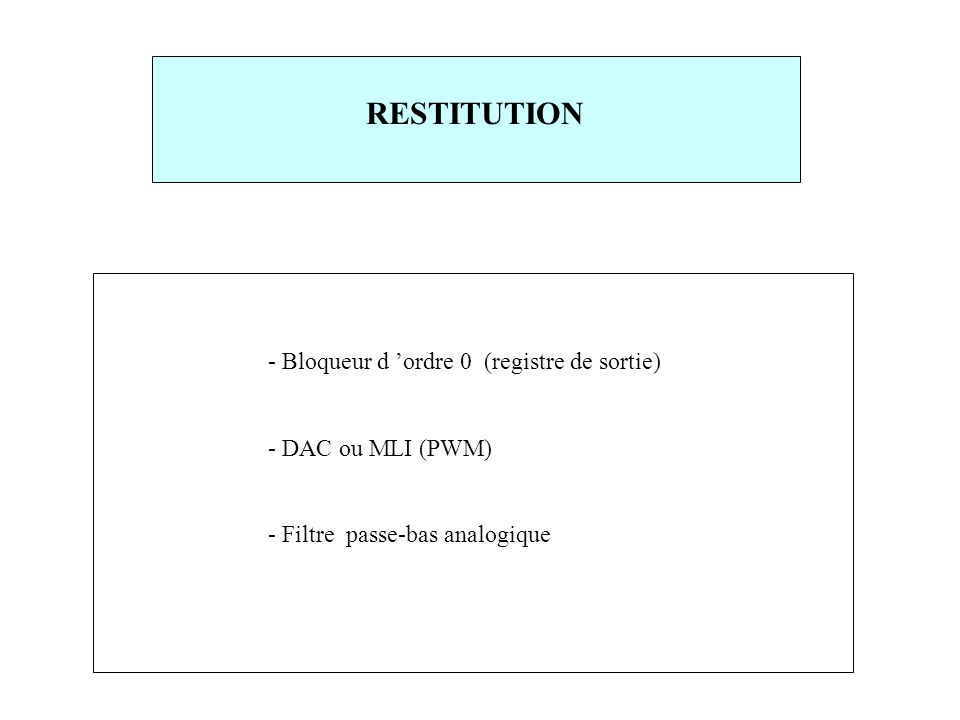 RESTITUTION - Bloqueur d 'ordre 0 (registre de sortie)