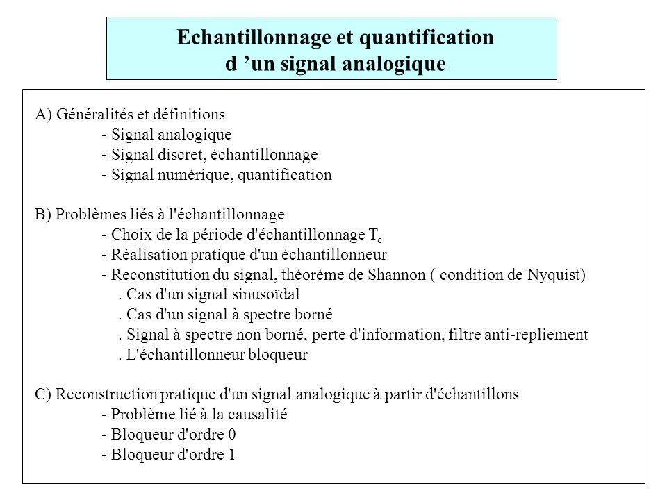 Echantillonnage et quantification d 'un signal analogique