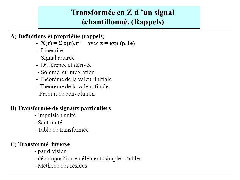 Transformée en Z d 'un signal échantillonné. (Rappels)