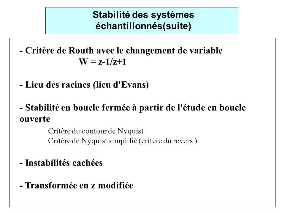 Stabilité des systèmes échantillonnés(suite)
