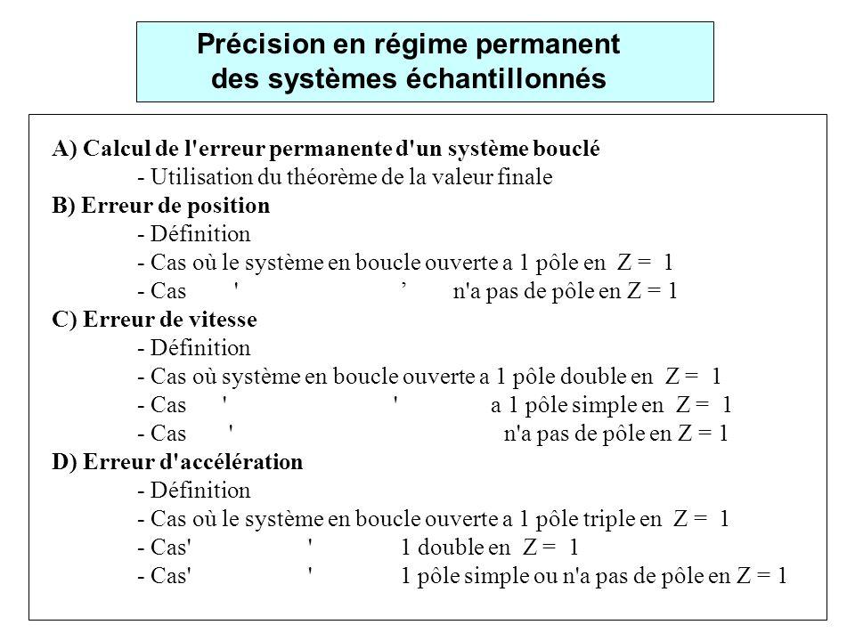 Précision en régime permanent des systèmes échantillonnés