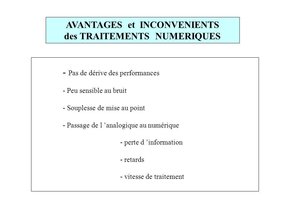 AVANTAGES et INCONVENIENTS des TRAITEMENTS NUMERIQUES