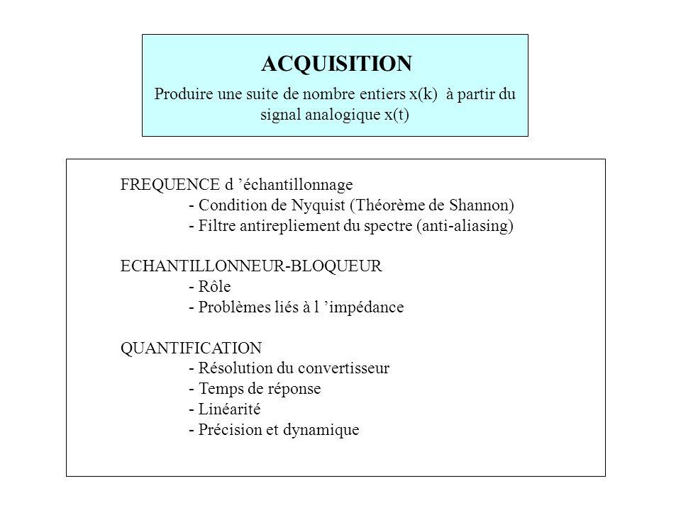 ACQUISITION Produire une suite de nombre entiers x(k) à partir du signal analogique x(t) FREQUENCE d 'échantillonnage.