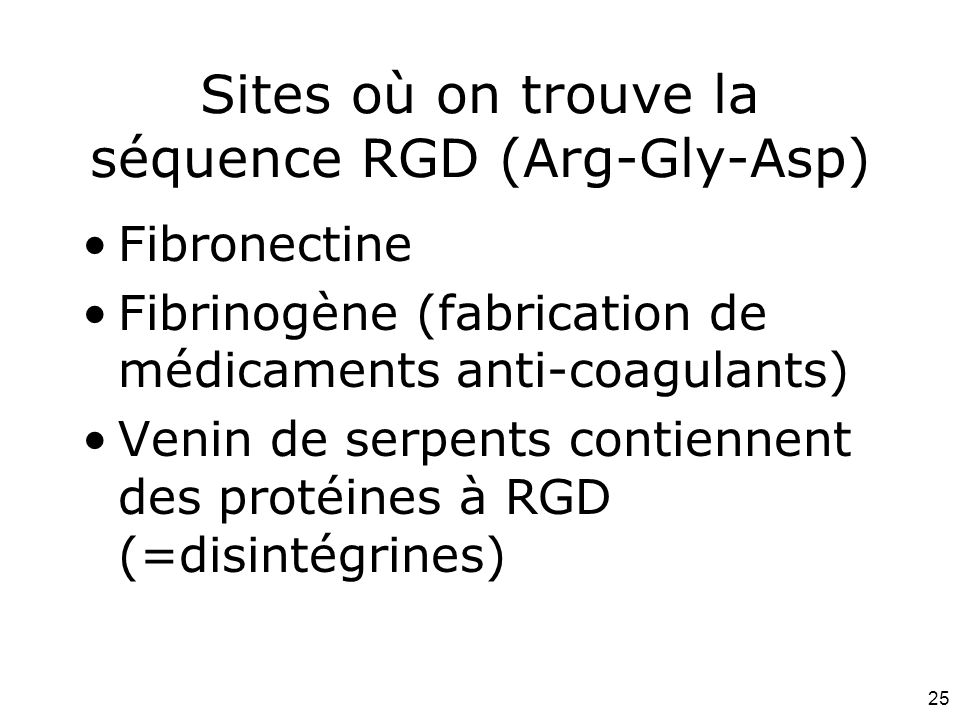 Sites où on trouve la séquence RGD (Arg-Gly-Asp)
