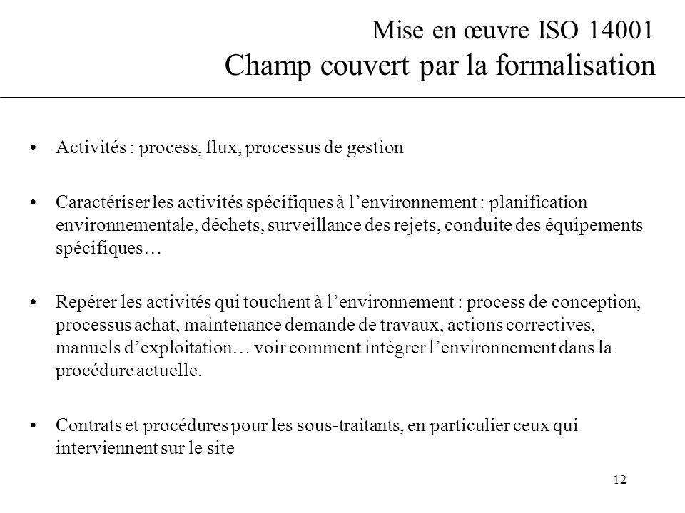 Mise en œuvre ISO 14001 Champ couvert par la formalisation