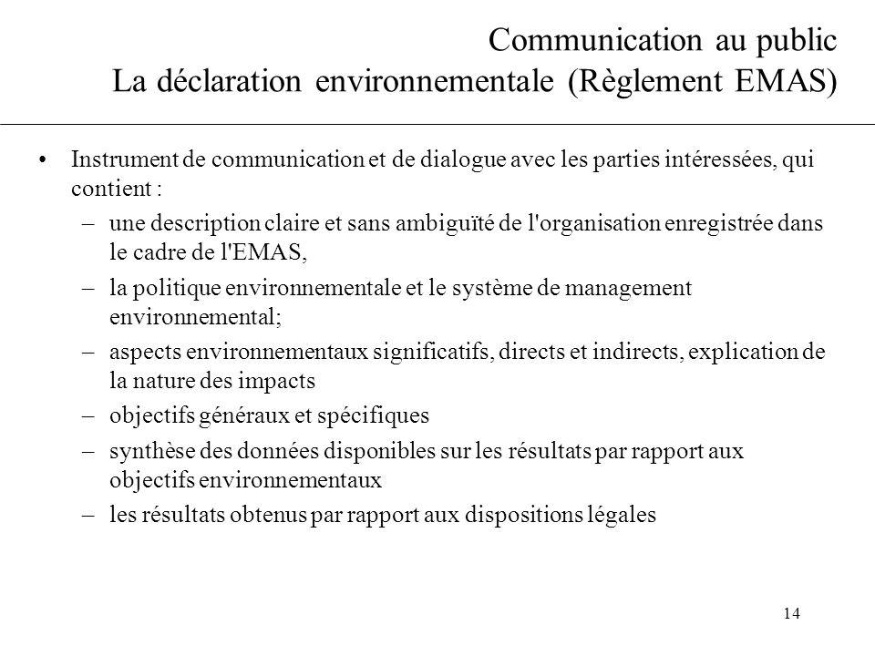 Communication au public La déclaration environnementale (Règlement EMAS)