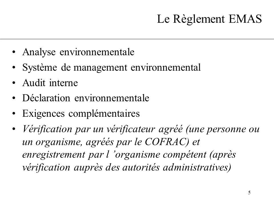 Le Règlement EMAS Analyse environnementale