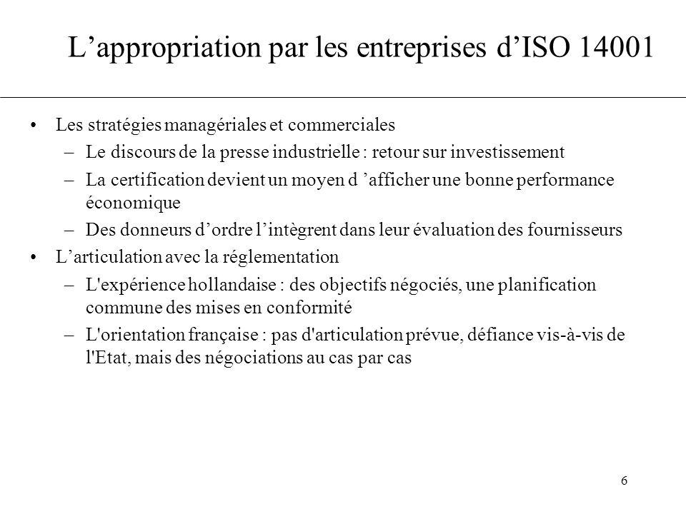 L'appropriation par les entreprises d'ISO 14001