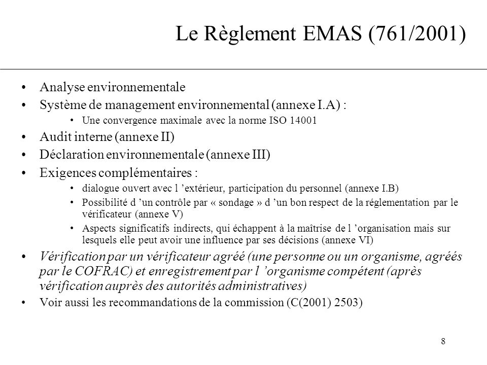 Le Règlement EMAS (761/2001) Analyse environnementale