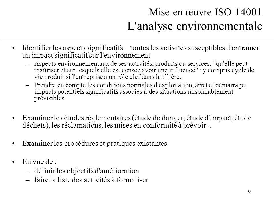 Mise en œuvre ISO 14001 L analyse environnementale