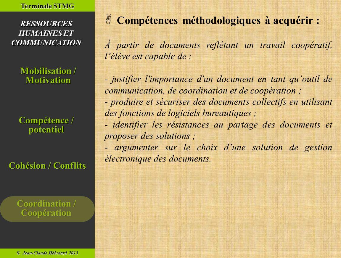  Compétences méthodologiques à acquérir :
