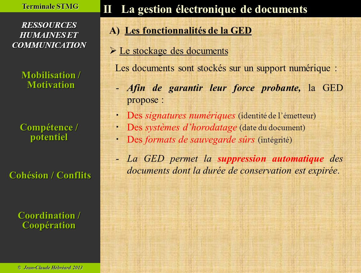 II La gestion électronique de documents