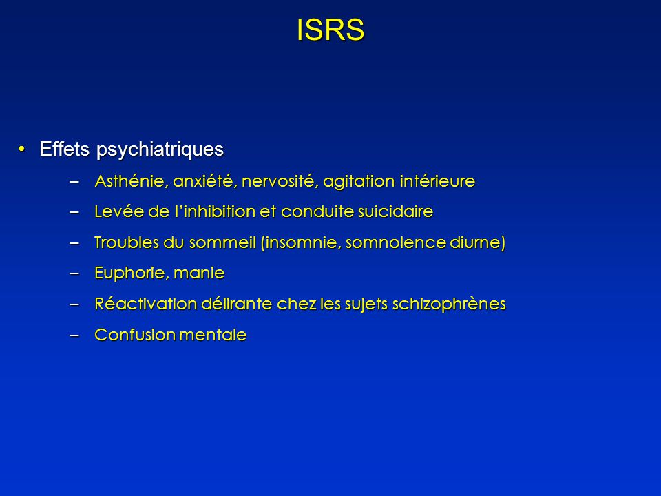 ISRS Effets psychiatriques