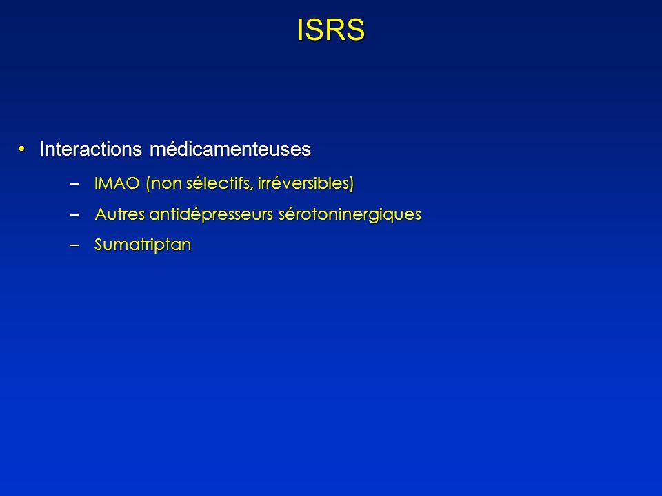 ISRS Interactions médicamenteuses IMAO (non sélectifs, irréversibles)