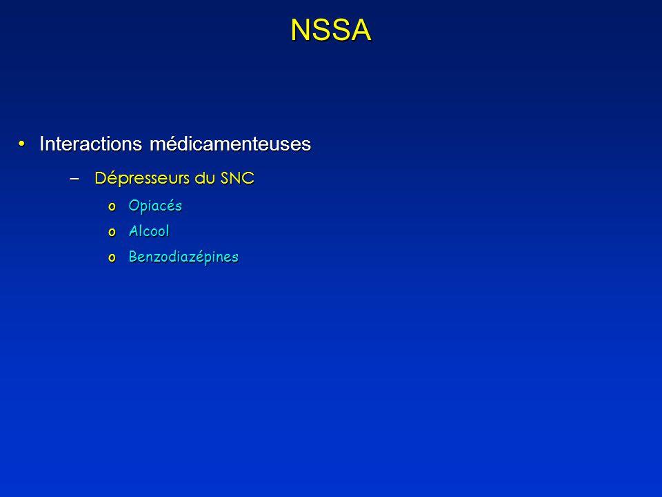 NSSA Interactions médicamenteuses Dépresseurs du SNC Opiacés Alcool