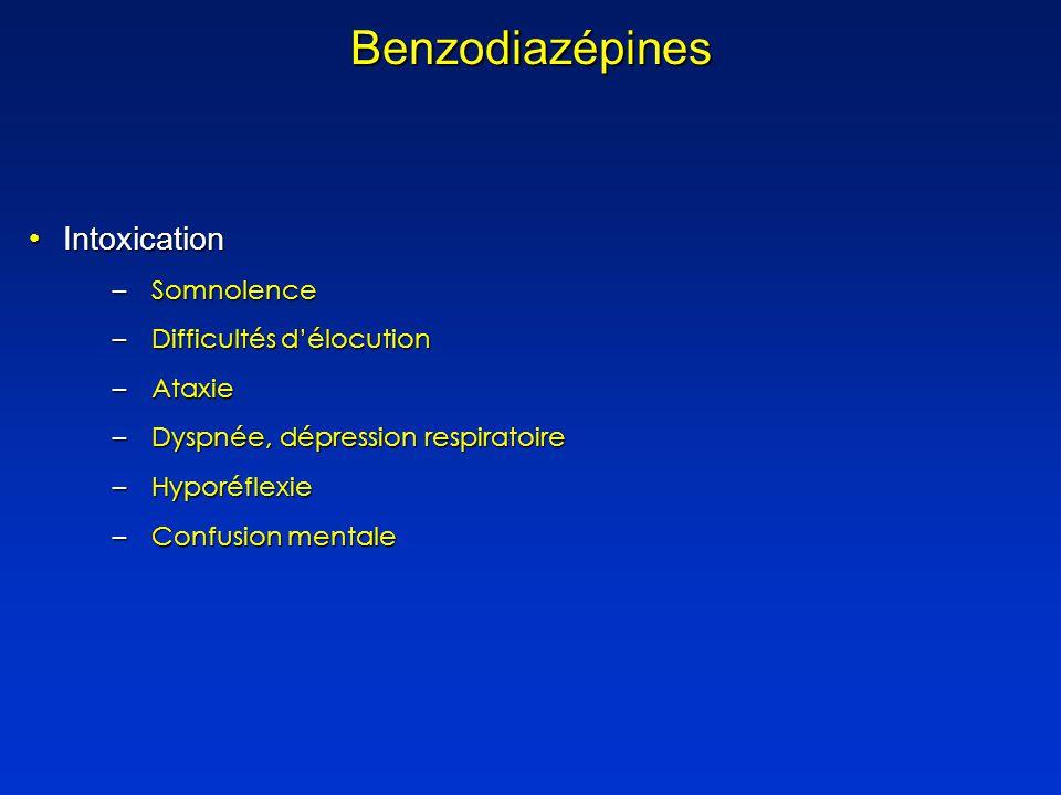 Benzodiazépines Intoxication Somnolence Difficultés d'élocution Ataxie