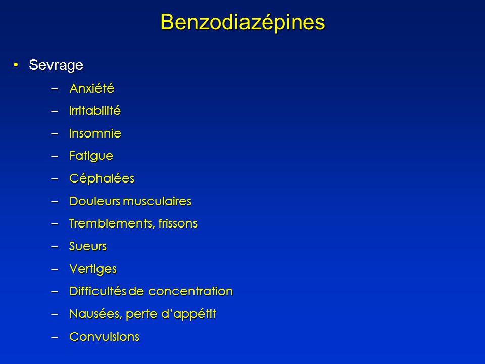 Benzodiazépines Sevrage Anxiété Irritabilité Insomnie Fatigue