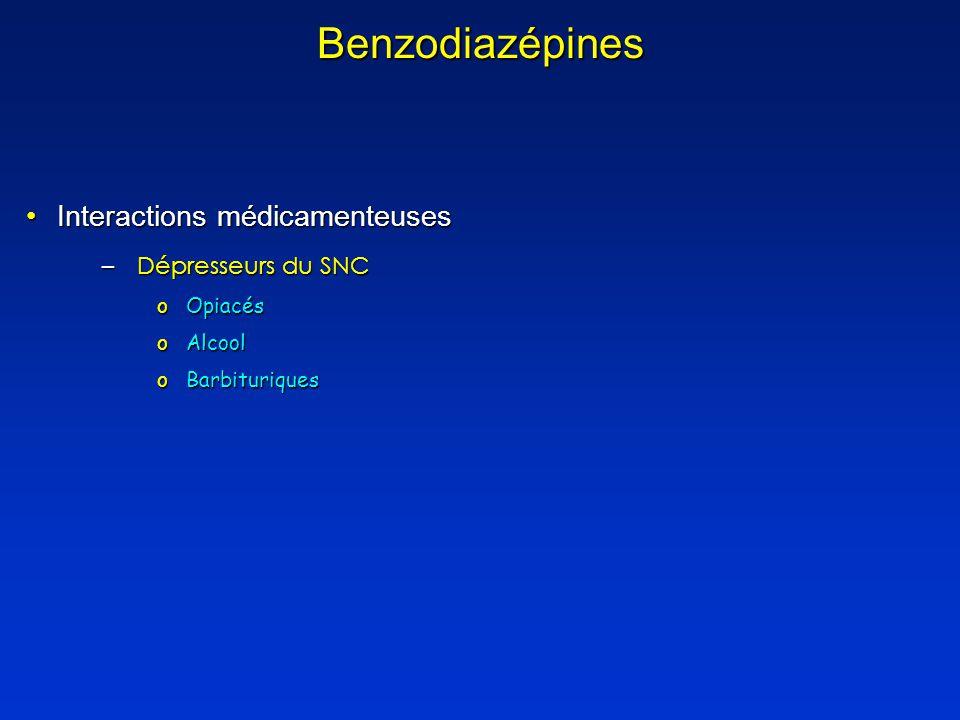 Benzodiazépines Interactions médicamenteuses Dépresseurs du SNC