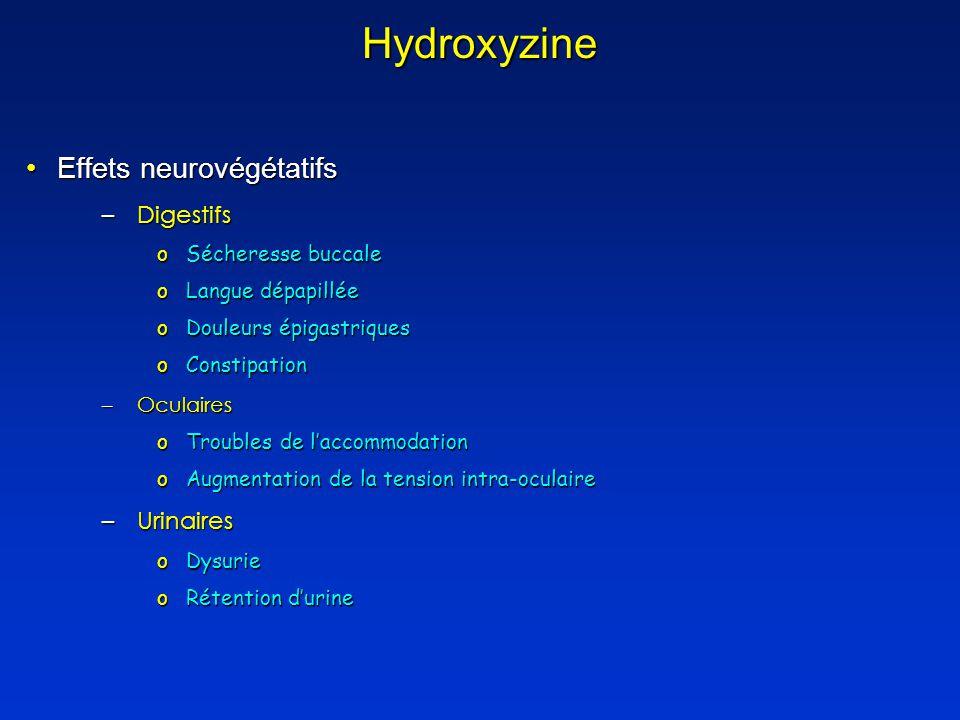Hydroxyzine Effets neurovégétatifs Digestifs Urinaires