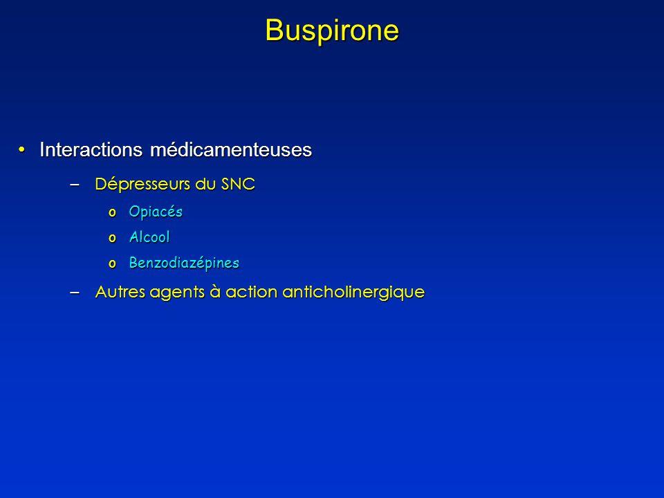 Buspirone Interactions médicamenteuses Dépresseurs du SNC