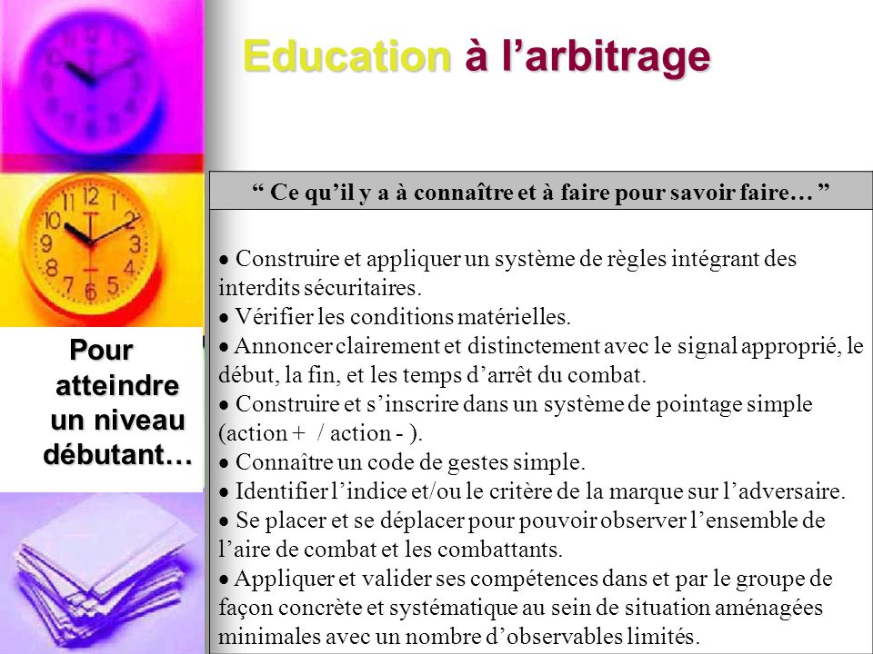 Education à l'arbitrage