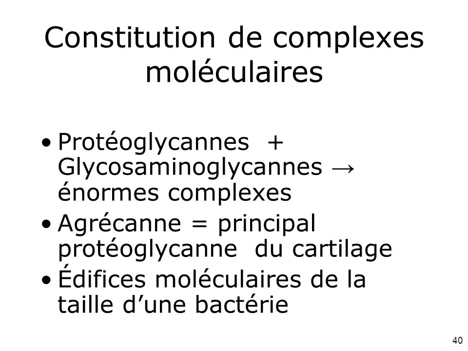 Constitution de complexes moléculaires