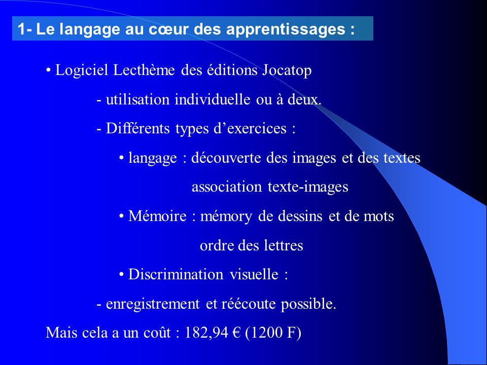 1- Le langage au cœur des apprentissages :