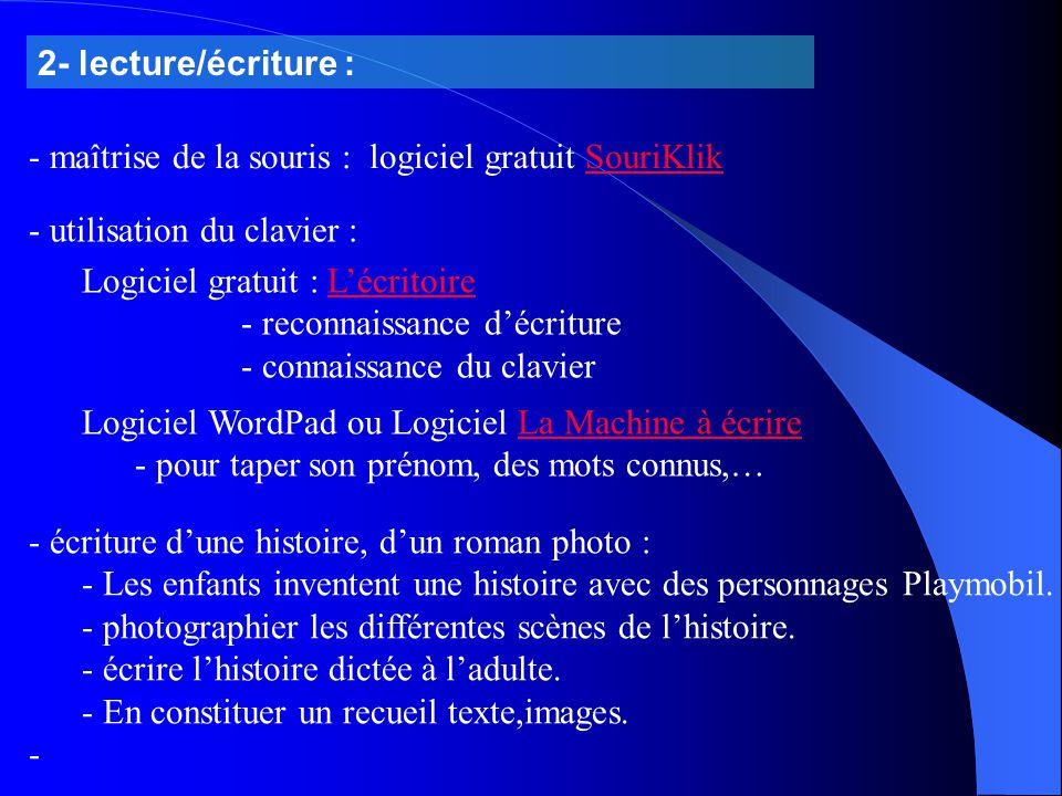 2- lecture/écriture : maîtrise de la souris : logiciel gratuit SouriKlik. utilisation du clavier :