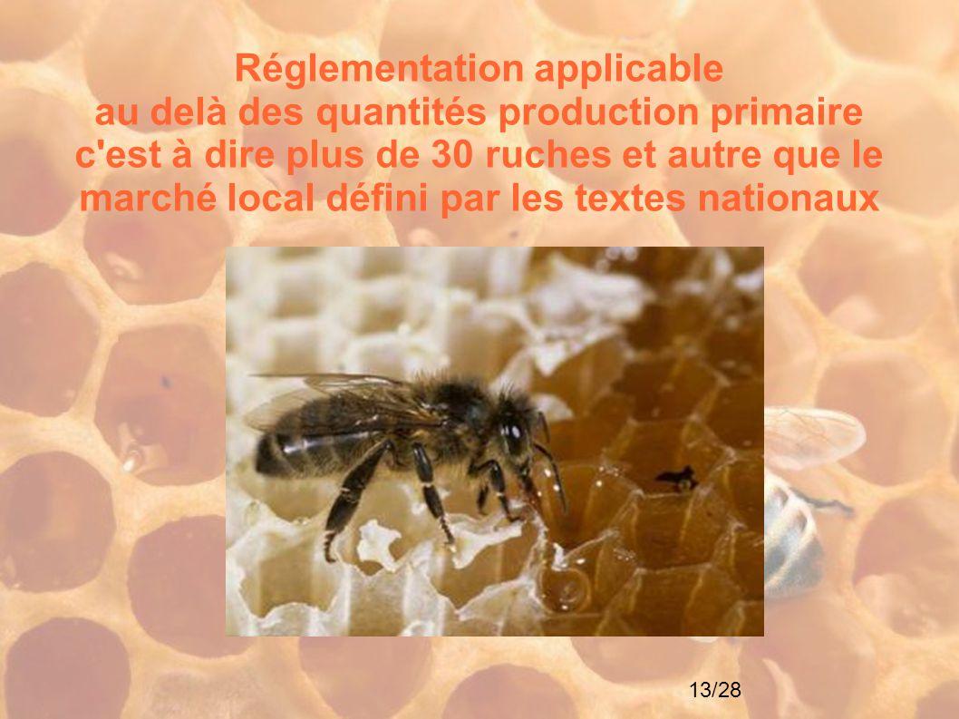 Réglementation applicable au delà des quantités production primaire c est à dire plus de 30 ruches et autre que le marché local défini par les textes nationaux