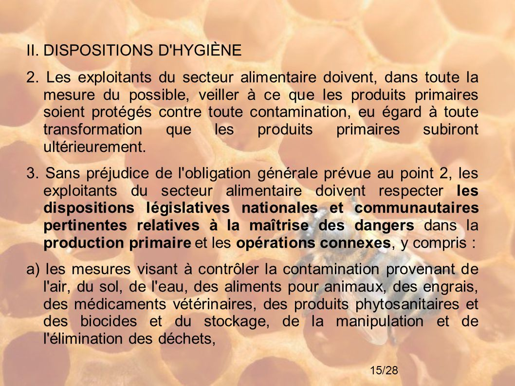 II. DISPOSITIONS D HYGIÈNE