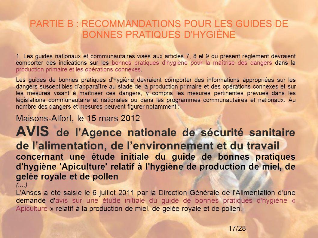 PARTIE B : RECOMMANDATIONS POUR LES GUIDES DE BONNES PRATIQUES D HYGIÈNE