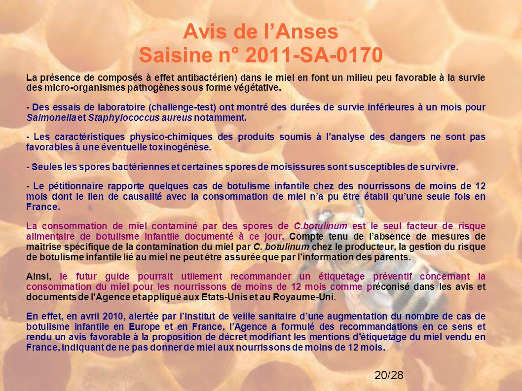 Avis de l'Anses Saisine n° 2011-SA-0170