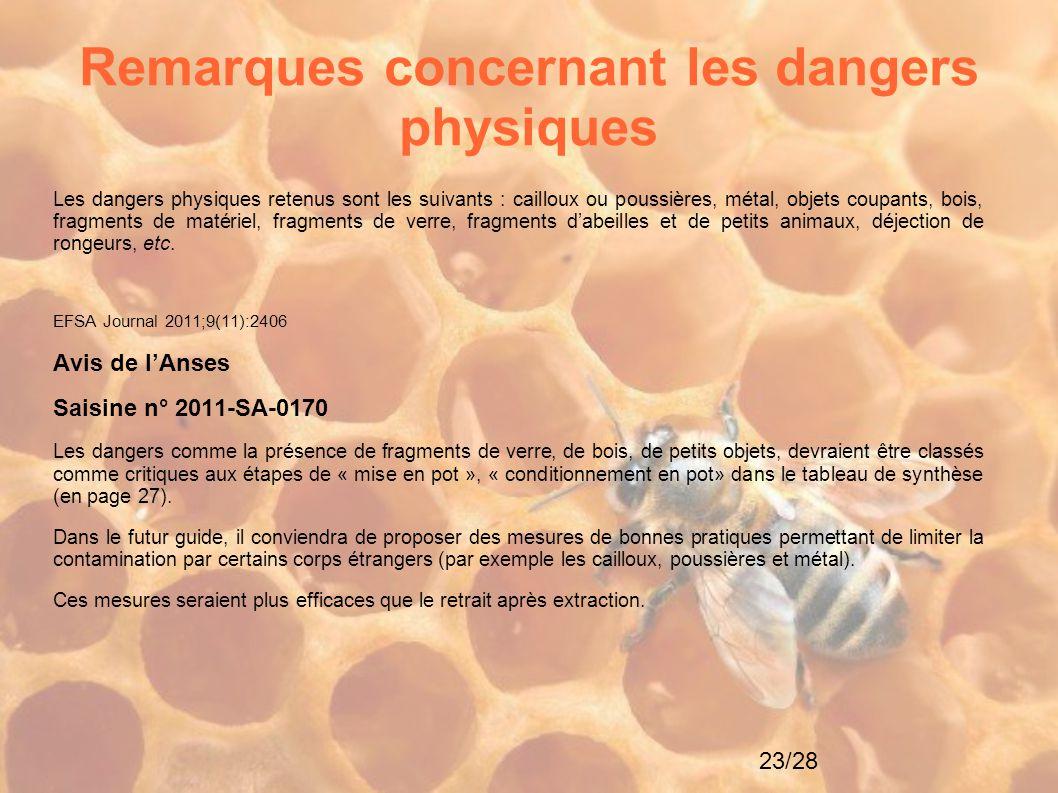 Remarques concernant les dangers physiques