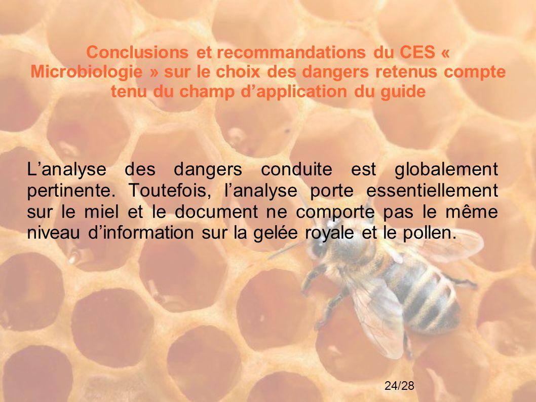 Conclusions et recommandations du CES « Microbiologie » sur le choix des dangers retenus compte tenu du champ d'application du guide