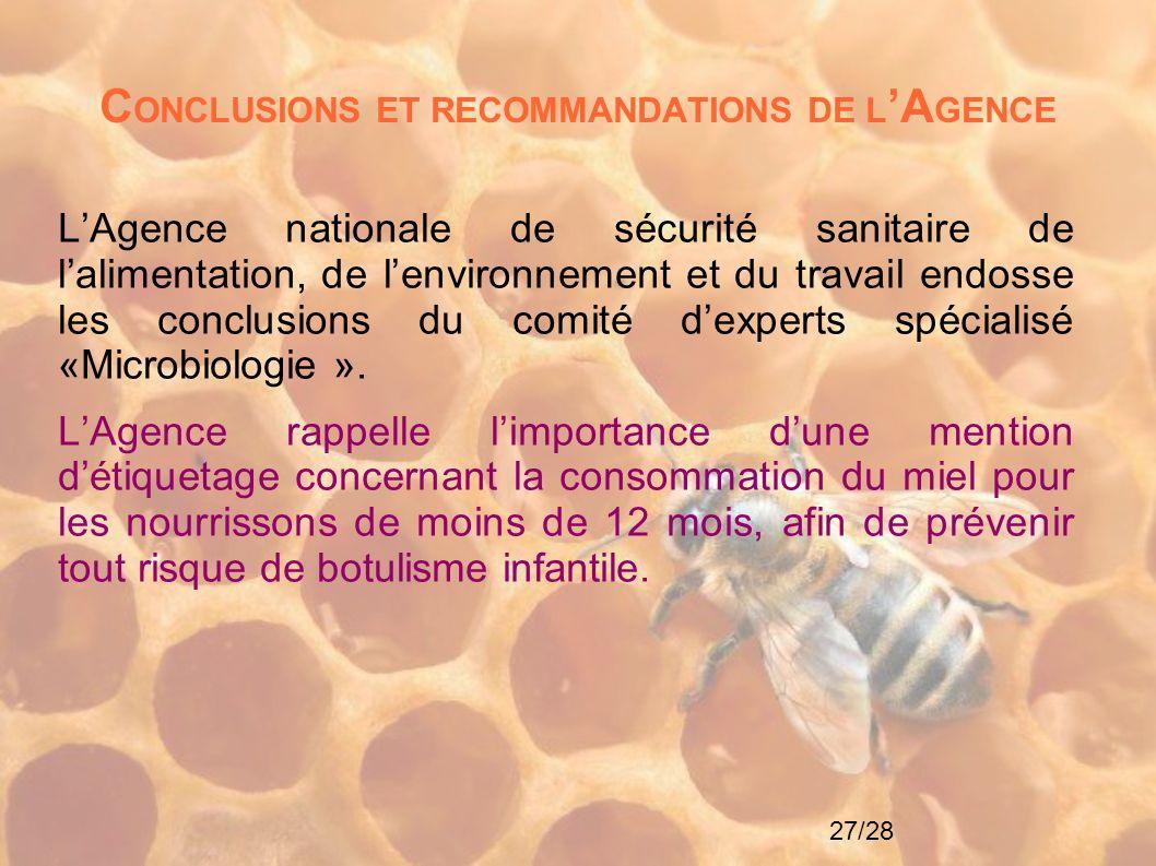 CONCLUSIONS ET RECOMMANDATIONS DE L'AGENCE