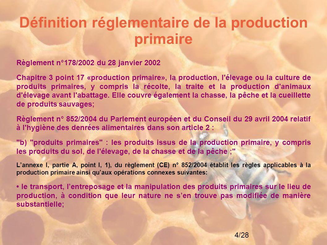 Définition réglementaire de la production primaire