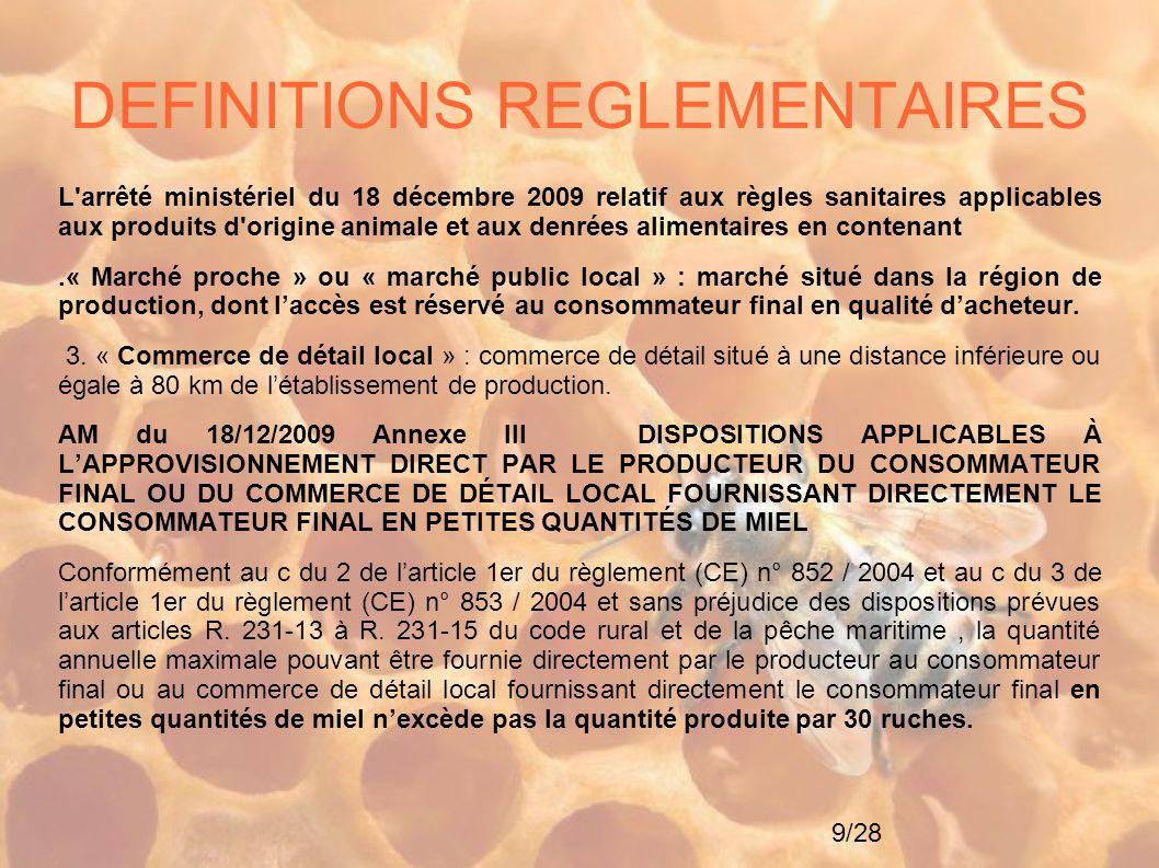 DEFINITIONS REGLEMENTAIRES