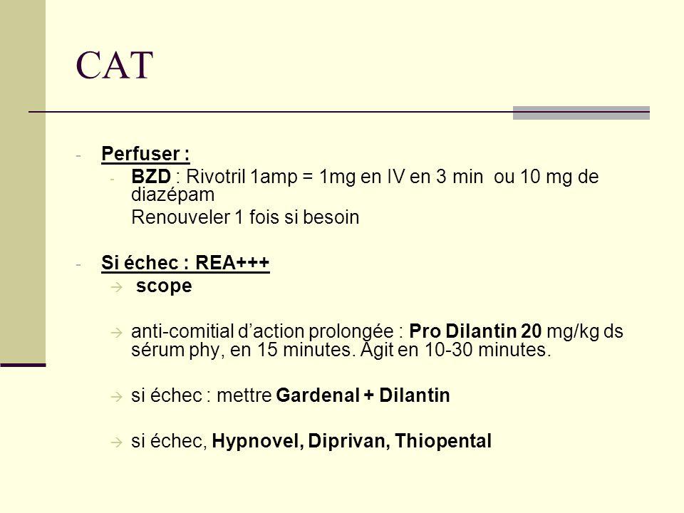 CAT Perfuser : BZD : Rivotril 1amp = 1mg en IV en 3 min ou 10 mg de diazépam. Renouveler 1 fois si besoin.
