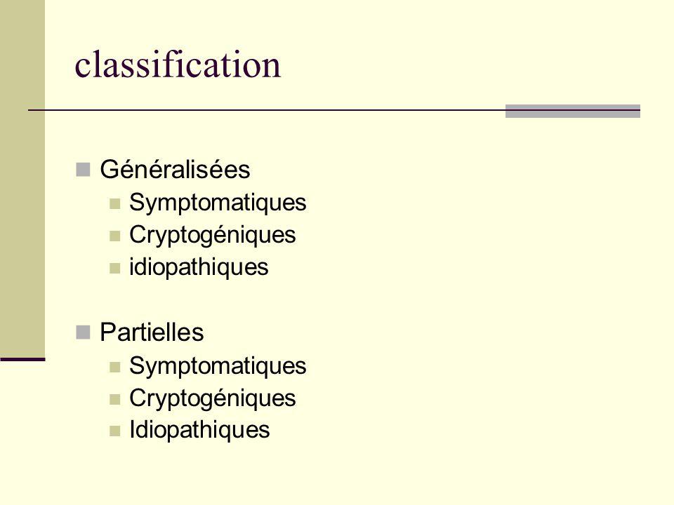classification Généralisées Partielles Symptomatiques Cryptogéniques