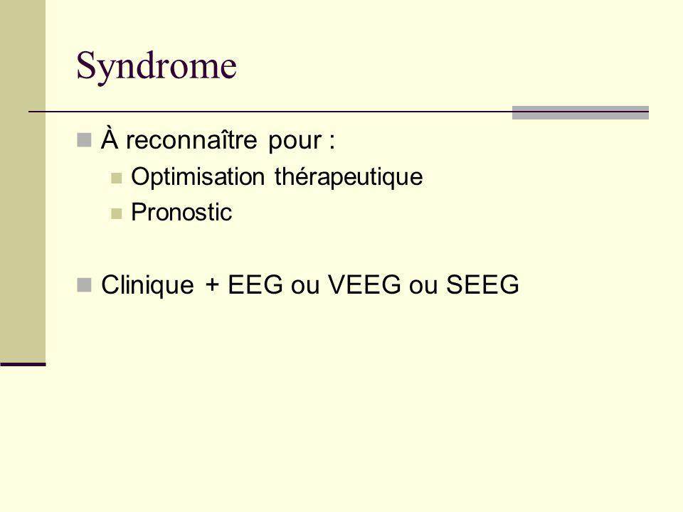Syndrome À reconnaître pour : Clinique + EEG ou VEEG ou SEEG