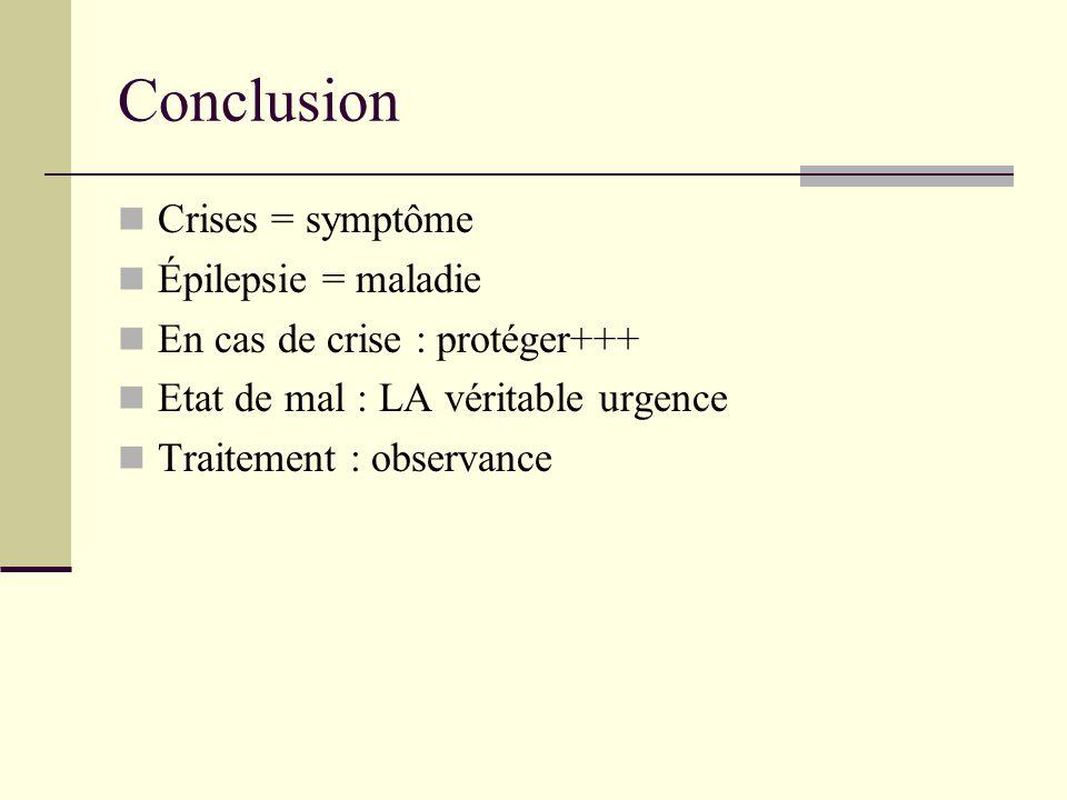 Conclusion Crises = symptôme Épilepsie = maladie