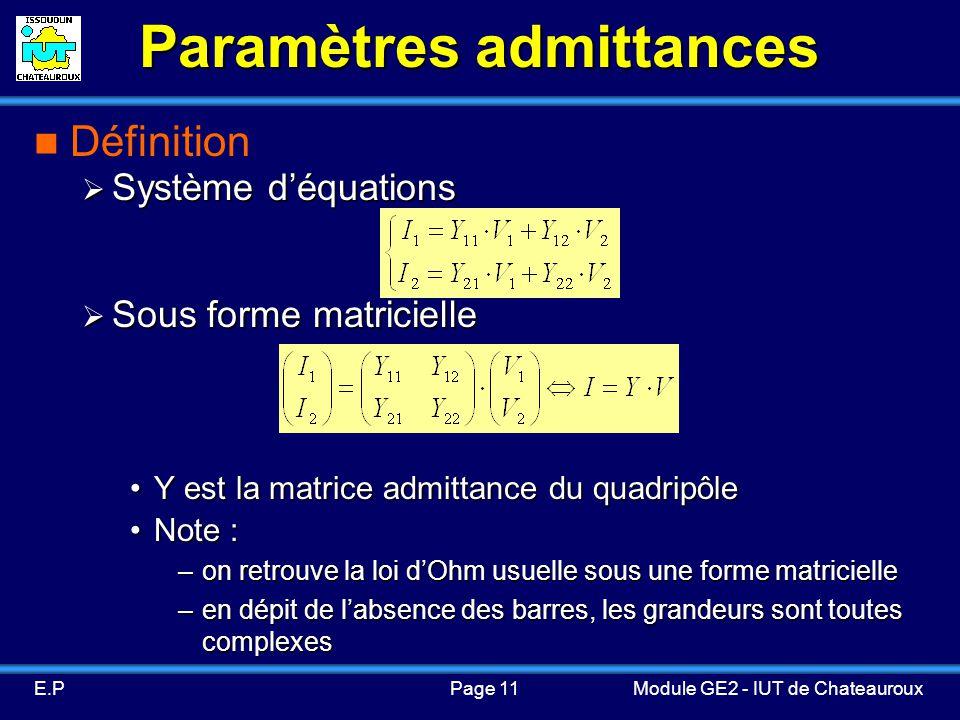 Paramètres admittances