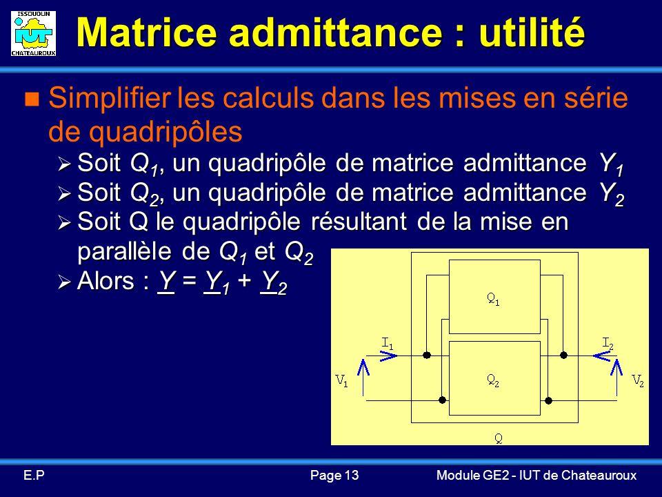 Matrice admittance : utilité