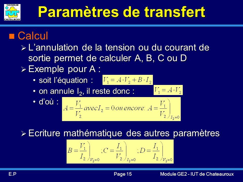 Paramètres de transfert