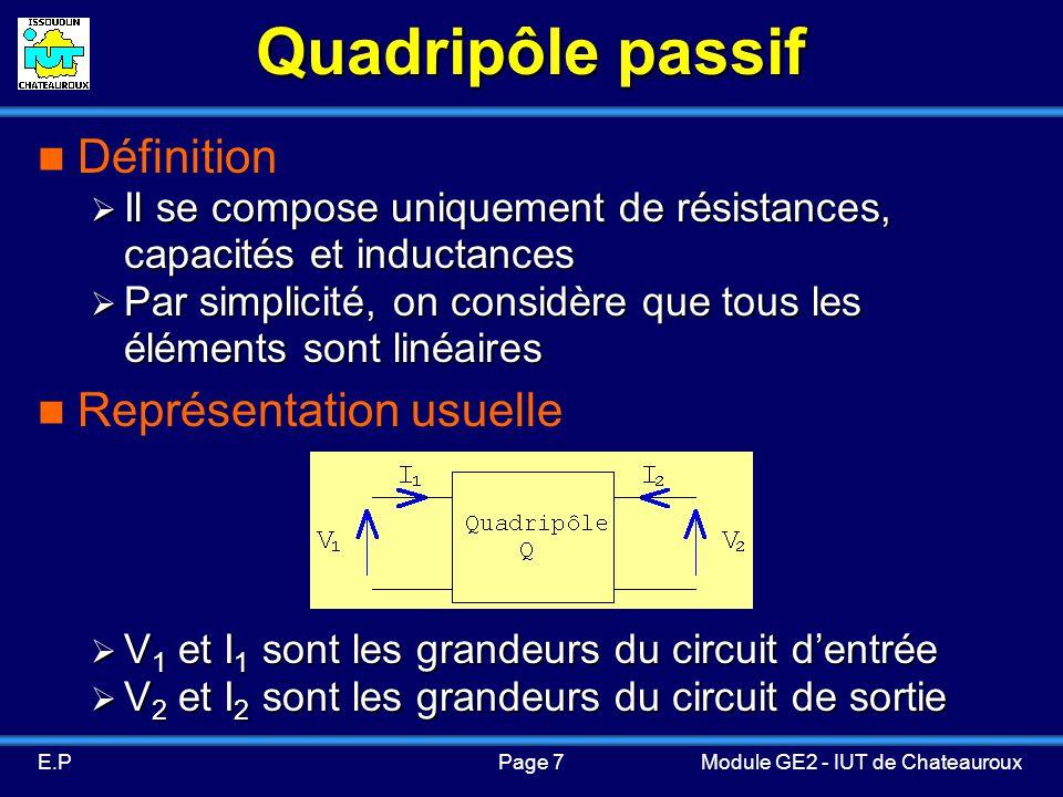 Quadripôle passif Définition Représentation usuelle