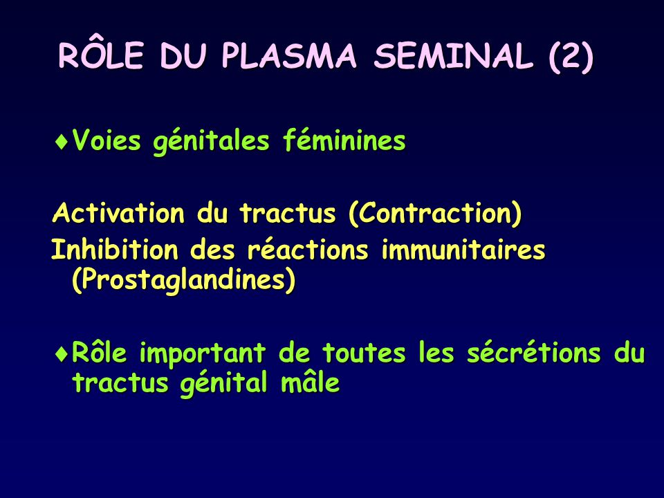 RÔLE DU PLASMA SEMINAL (2)