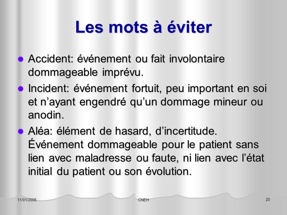 Les mots à éviter Accident: événement ou fait involontaire dommageable imprévu.