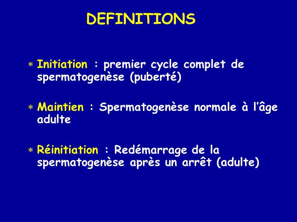 DEFINITIONS Initiation : premier cycle complet de spermatogenèse (puberté) Maintien : Spermatogenèse normale à l'âge adulte.